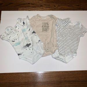 3pc baby boy organic cotton bodysuit onesie